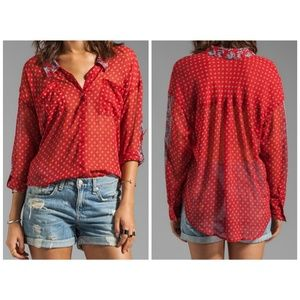 Free People easy rider sheer  blouse small